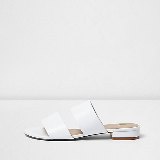 White Two Strap Mules, River Island